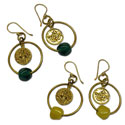 Om Ganesh Earrings Recycled Glass & Brass