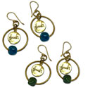 Shanti Earrings Circles Recycled Glass & Brass